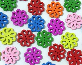 12 Sunflower hollow wooden buttons