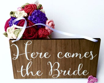 Here comes the bride sign, wedding sign, wedding banner, rustic sign, page boy sign, flower girl sign, ring bearer sign, wedding decor, 03WS