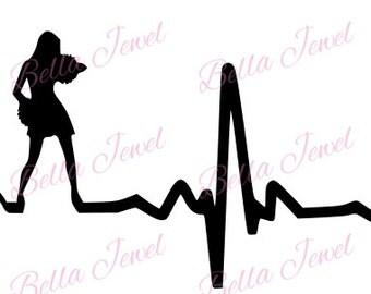 Cheerleader SVG, Cheerleading svg, Cheer svg, heartbeat svg, my heart beats for Cheerleading svg, I love cheerleading, svg files for cricut