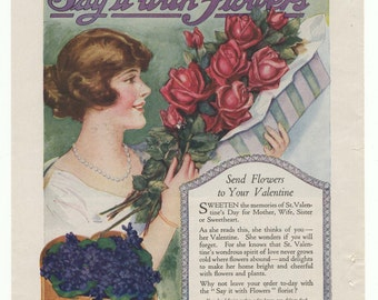 "1920 Valentine's Day Florist ad: ""Say it With Flowers"""