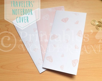 Midori traveler's notebook cover inserts instant download diamond watercolor pattern
