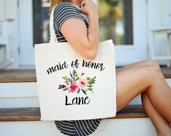 Maid of Honor Tote, Floral Maid of Honor Tote, Custom Maid of Honor Tote, Matron of Honor Tote, Floral Matron of Honor Tote, Personalized