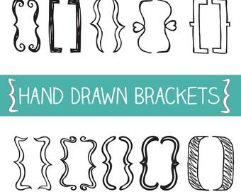 Hand Drawn Bracket, Bracket Clipart, Bracket Vector