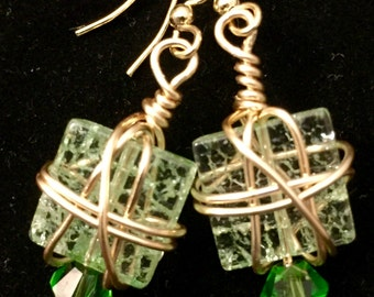 crochet silver wire and pearl earrings