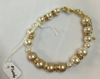 Bridal, Wedding, Evening or Casual Swarovski Pearl & Crystal Bracelet