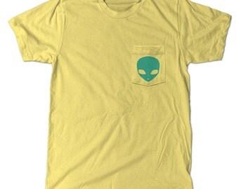 Alien UFO Pocket t-shirt Yellow tee shirt