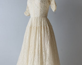 1950s Vintage Tea Length Lace Wedding Dress