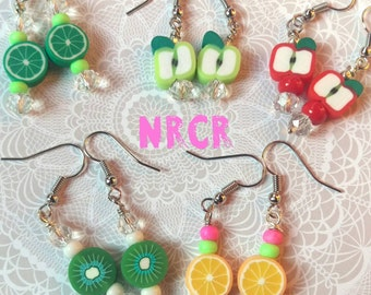 Little Girls 5 Fruit slice earrings. silicon. handmade. One of a kind .