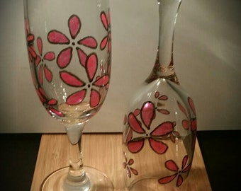 Pink Flower Champagne Glass Set - 'Sharpie Art'