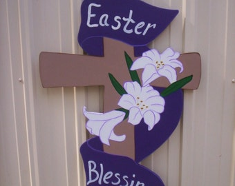 Easter Cross with Easter Blessings Banner and Lillies Available in 3 sizes Yard Art Lawn Decoration