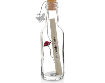 1st to 50th Wedding Anniversary Gifts | Message in a Bottle with Gift Box | Rose Available in 7 Colours