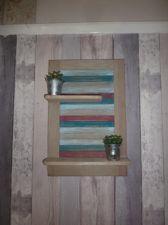 Bathroom Shelving Upcycled Wood Beach Theme Blue By