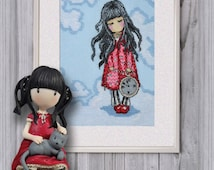 cross stitch embroidered picture girl Gorjuss