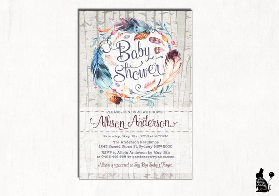 Boho baby shower invitation bohemian baby shower invite feathers il570xn filmwisefo