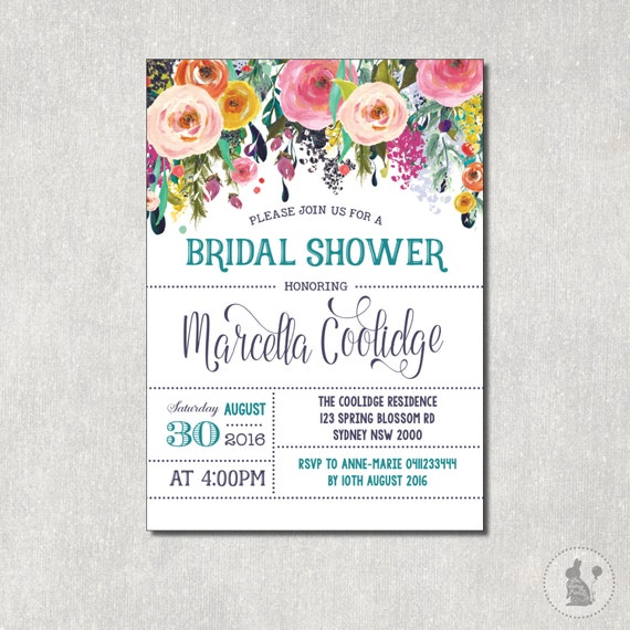 Floral bridal shower invitation flower baby shower digital invite il570xn filmwisefo Choice Image