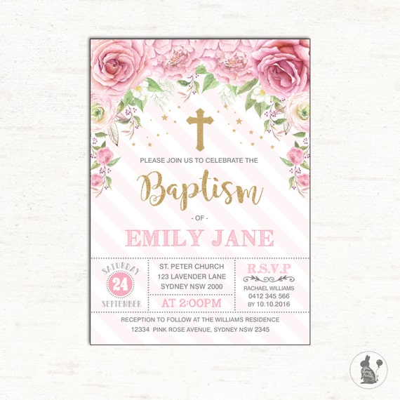 First Birthday And Baptism Invitations 1st Birthday And: Baptism Invitation. Pink Rose Christening Printable Invite