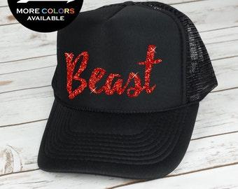 Beast Trucker Hat , Workout Hat, Gym Hat, Running Hat, Cardio Hat, Inspirational Hat (red glitter)