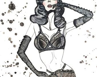 "Fashion Illustration Dita Von Teese Watercolor Painting vintage lingerie ""Madame X"" Von Follies art"