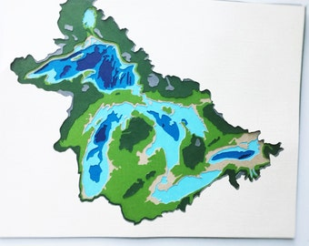 Great Lakes Topographic Map - Layered Cardstock Creating A 3d Effect