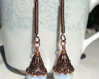Copper Earrings, Bridal Earrings, Dangle Earrings, Gifts for her, Wire-wrapped Earrings