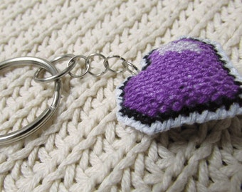 Cute cross stitched purple heart keychain, purse/zipper charm