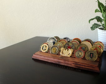 Modern Flat Military Coin Holder, SMALL, Display, FREE SHIPPING, Challenge Coin Display, Challenge Coins, Military Gift, Army Coins, Wood