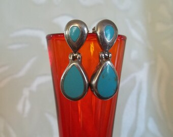 Vintage Silver and Turquoise Dangle Stud Earrings