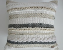 Luxury handwoven cushion, luxury pillow, cushion cover, pillow cover, interior decoration, textured cushion, white grey and beige cushion