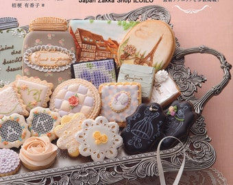 """Japanese How to make icing cookies Book,""""French antique icing cookies"""",[4528020564]"""