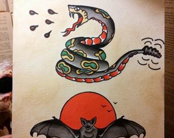 Snake and batt tattoo flash print