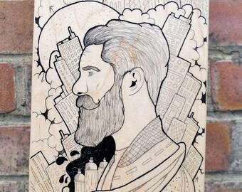 Hand drawn Skateboard Deck (The Artist)