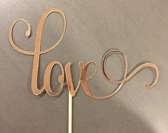 Love Cake Topper | Gold Foil | Silver Foil | Rose Gold Foil