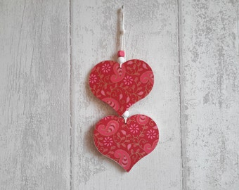 Duo of hearts - pink, red, Golden