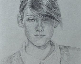 Kristen Stewart Portrait Pencil Signed