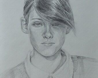 Kristen Stewart Portrait Pencil Drawing Signed
