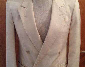 80s does 40s cream white double breated dinner / tuxedo jacket