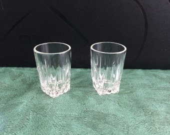Two Federal Glass shot glasses, Park Avenue