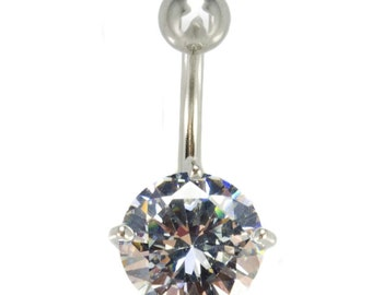 Round 10mm CZ Belly Ring, 316L Surgical Steel, Stone, Piercing, Body Jewelry, Solitaire, Navel Ring