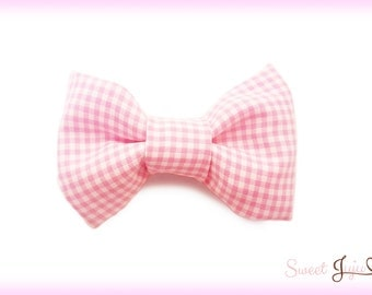 Pastel Picnic Bow - Gingham Print Fabric - Kawaii Country Sweet Lolita and Fairy Kei Cute Plaid Hair Clip Accessory