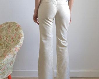 70s' gold flare pants/ 70s fashion/ unique vintage pants/ 70 clothing