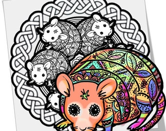 Magic Rat Mandala Coloring Page Printable Download