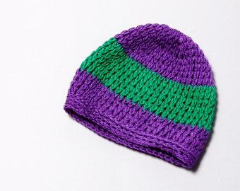 Purple and Green Striped Knitted Winter Hat