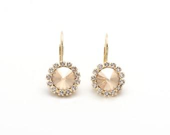 Swarovski Earrings, Topaz, Gold or Silver