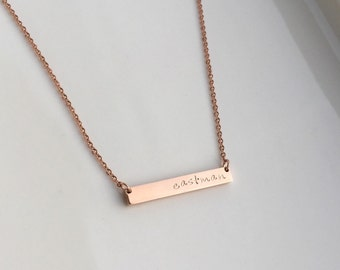 Personalized Bar Necklace - Bar Necklace - Rose Gold Necklace - Personalized Necklace - Name Necklace - Name Bar - Bridesmaid Gift - Rose