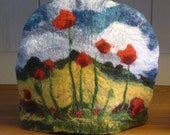Felt Tea Cosy - Poppies in a Lincolnshire corn field, handmade in Yorkshire, gifts for tea lovers, gifts for men, women and art lovers