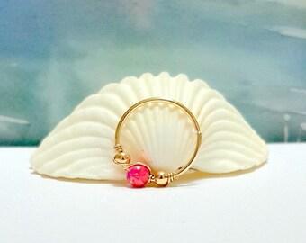 Pink Rose Opal Cartilage Earring- Gold Beaded Helix Hoop- Silver Cartilage Piercing- Helix Jewelry- 16-22 Gauge- 7-12mm Inner Diameter