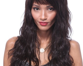 100% Human hair wig with full fringe