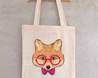 """Tote Bag """"Fox with glasses"""" - shopping bag"""
