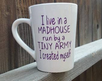 Tiny army mug, mom mug, tiny army cup, funny mug, funny mom mug, glitter mug, cute mug for her, mug for friends, funny coffee mugs
