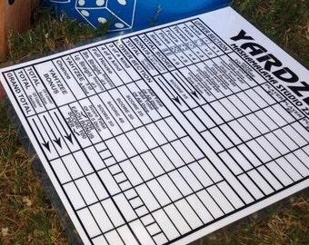 """Reusable YARDZEE Scorecard 8.5x11"""" - Multiple Players - Double Sided"""